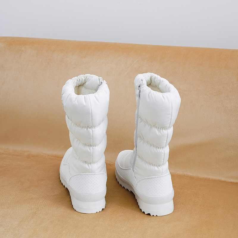 MORAZORA Size Lớn 36-41 Mới ấm Ủng nữ dây kéo nền tảng Giày đồng màu chống nước giữa bắp chân dày dặn bộ Lông Mùa Đông Giày