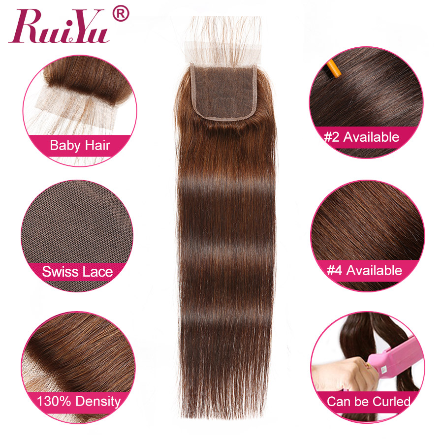 H72f135b4082f4663bf76f19e5d5b177c7 Human Hair Brown Bundles With Closure Brazilian Straight Hair Weave Bundles With Closure Middle Ration 10- 26 Inch NonRemy RUIYU