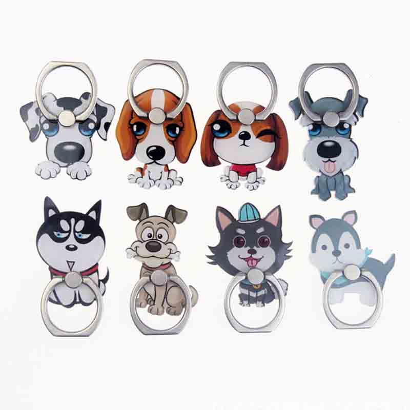 Cute Dogs Universal Mobile Phone Holder Rotate 360 Degrees Phone Finger Ring Holder Tables Cell Phone Stand For IPhone