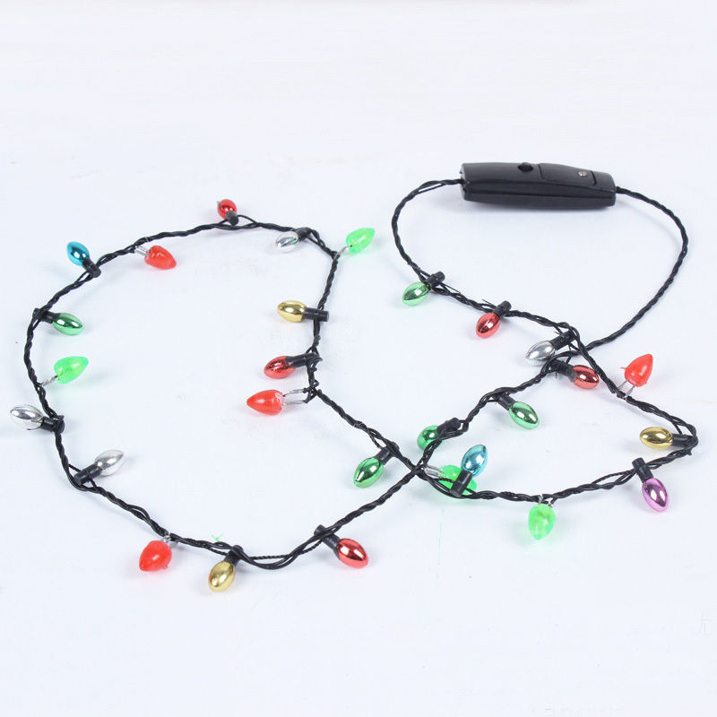1 Pcs Mini Flashing Light-up Blinking Christmas Lights Costume Necklace 8 LED Bulbs DTT88