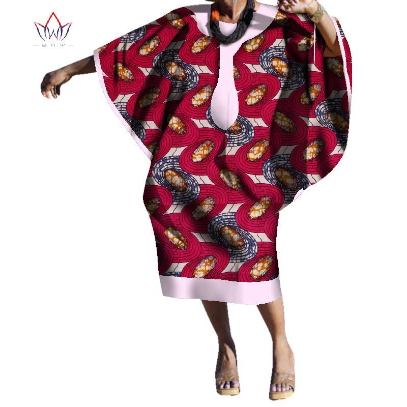 2019 nouvelle robe africaine pour les femmes automne ankara Maxi robe Dashiki afrique bazin genou-longueur manches bouffantes grande taille vêtements WY2981