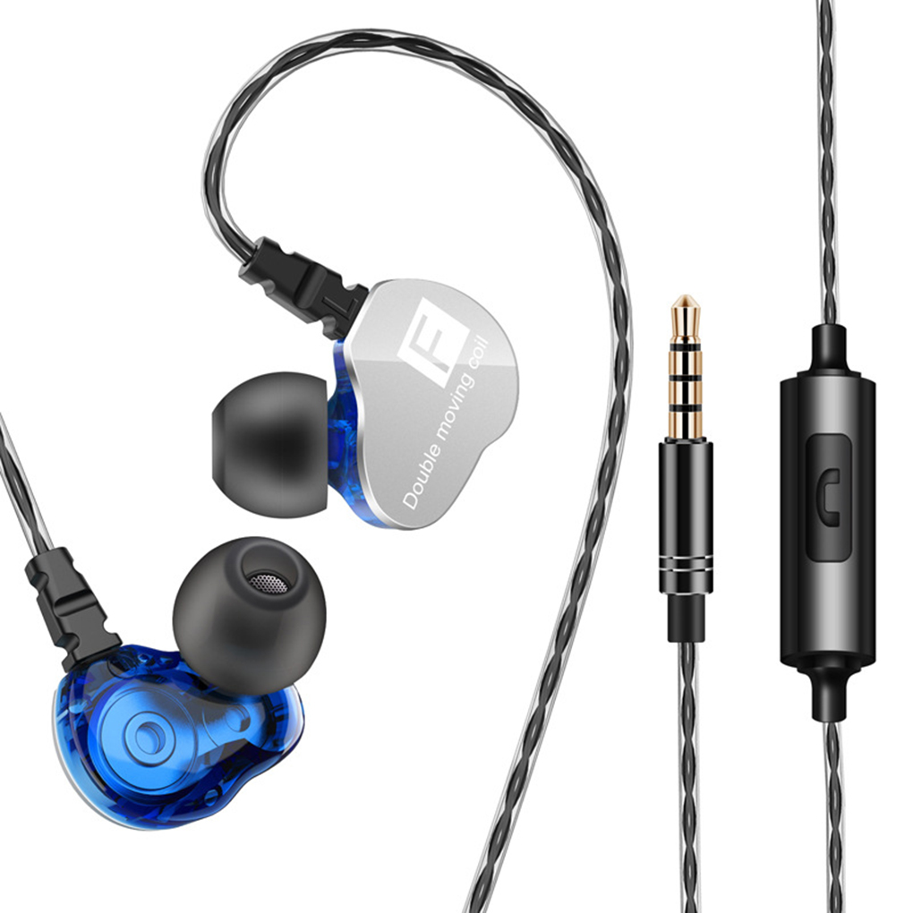 QKZ CK9 Earphone Dual Moving Coil In-ear Headset Heavy Bass Stereo In-line Control 3.5mm Wired Earbuds