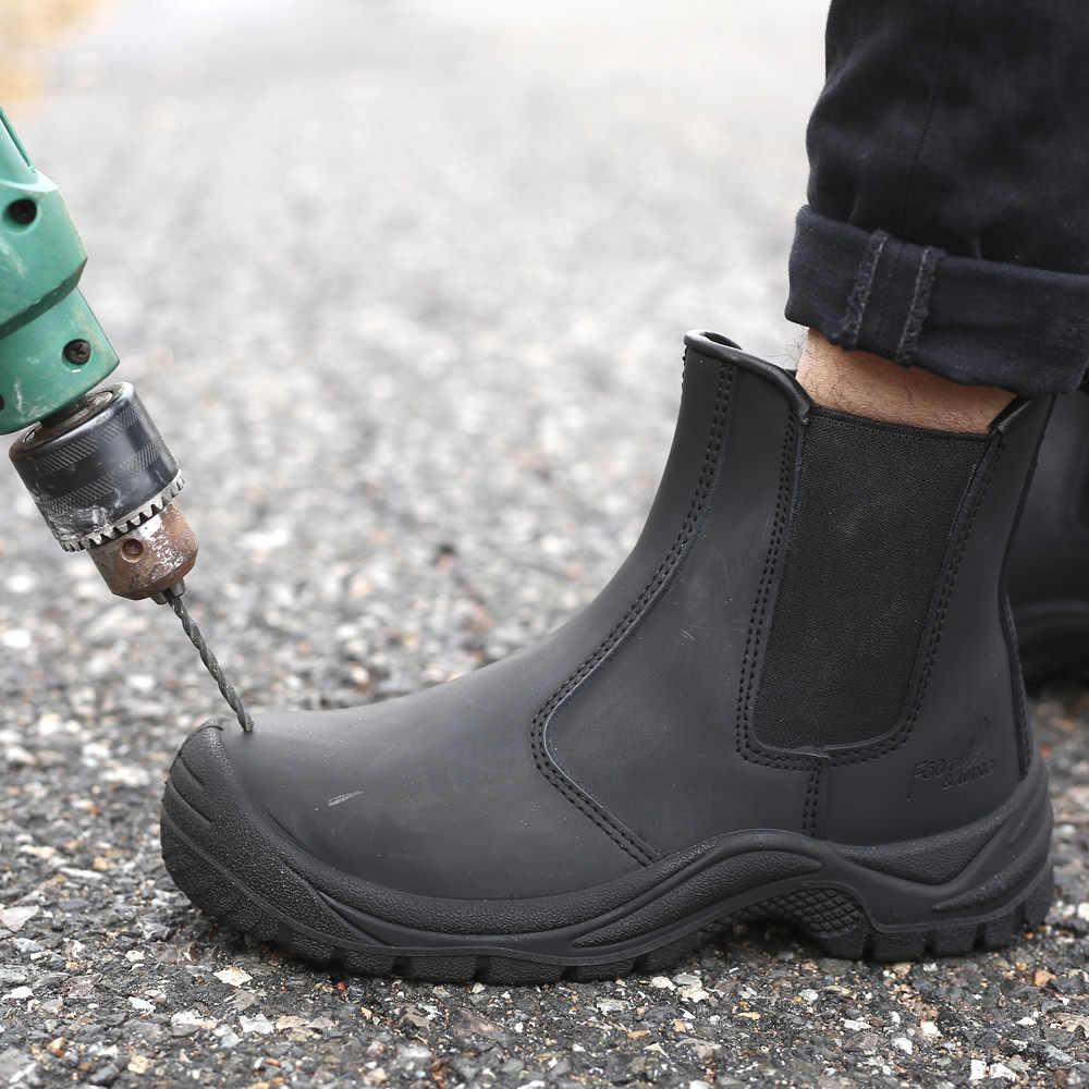 Clássico botas masculinas à prova dnon água antiderrapante sapatos de trabalho designer sapatos de segurança indestrutível caminhadas trekking botas de motocicleta