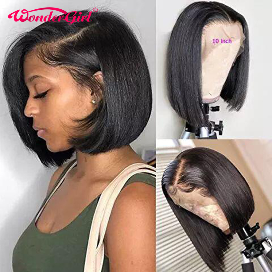 Wonder Girl Short Lace Front Human Hair Wigs With Baby Hair 13x6 Lace Front Wig No Shedding Malaysian Remy Straight Hair BOB Wig