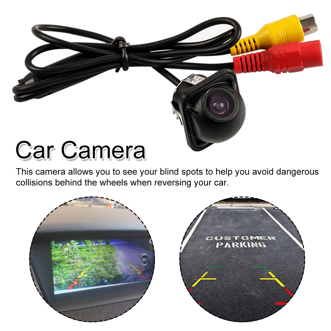 Car Rear view Front Mirror 170° Wide Angle View Backup Parking Reversing Night Vision Camera