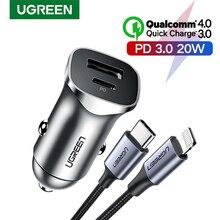 Ładowarka samochodowa UGREEN PD szybkie ładowanie 4.0 3.0 QC ładowarka USB dla Xiaomi QC4.0 QC3.0 20W typ C PD ładowanie samochodu dla iPhone 11 X Xs 8