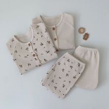 Home Clothing Baby Boys Girls Long Sleeved Waffle Top and Pants Children Flower Korean Pajamas Sets