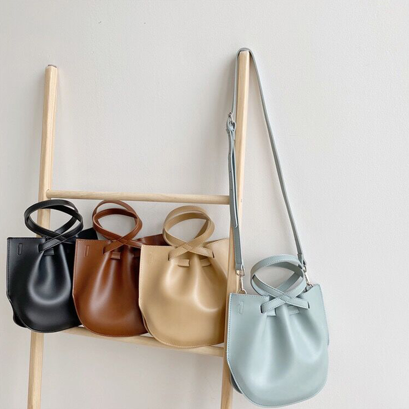 2020 New Korean Style Women Bags PU leather Designer Small Youth Handbag Chic Ladies Shoulder Bag Thin Drawstring Bucket Bags