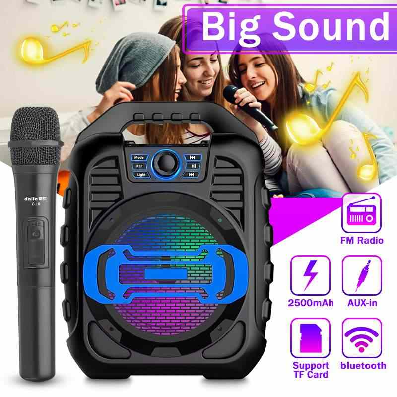 9W 3D Surround Sound Portable Karaoke Nirkabel Bluetooth Speaker LED Lampu Outdoor Menari Subwoofer dengan MIC Music Center
