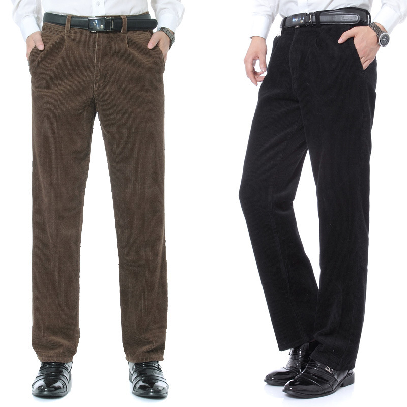 Autumn And Winter Middle-aged MEN'S Trousers Business Casual Trousers Middle-aged High-waisted Loose Straight Striped Pants