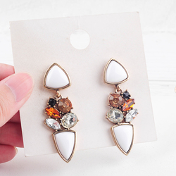 CH-875 Vintage Gold Color Earrings White Acrylic Crystal Pendant Earrings For Women Fashion Jewelry New Arrival