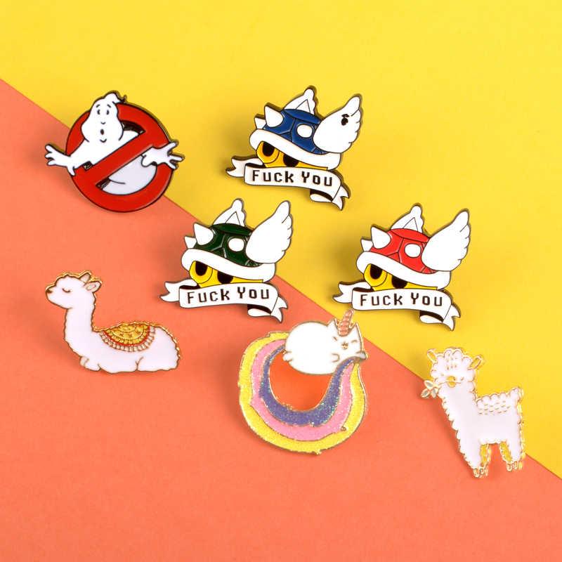 การ์ตูนเต่า Mario Kart เคลือบ Pins Alpaca Ghostbusters เข็มกลัดวิดีโอเกม Lapel PIN ป้ายเสื้อผ้ากระเป๋าเครื่องประดับของขวัญ