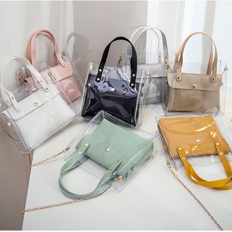 LISM  2019 Heat Selling Transparent PVC Tote Bag Female Mini Shoulder Bag Black Slanting Slanting Cell Phone Pocket