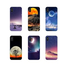 Silicone Phone Shell Cases For Apple iPhone X XR XS 11Pro MAX 4S 5S 5C SE 6S 7 8 Plus ipod touch 5 6 Space Sceneries of Moon Art(China)