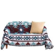 Manta tejida Bohemia con hilo en la cama, sofá a cuadros, toalla suave, cama, tapiz a cuadros