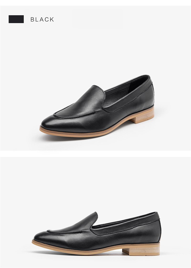 Spring Summer Genuine Leather Women`s Loafers New Fashion Pointed Toe Women`s Flats Oxfords Singles First Layer Leather Brogues (6)