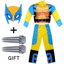 Halloween wolverines-menino máscara brinquedos garras desempenho de palco muscular cosplay calças superiores para o natal crianças presentes