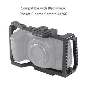 """Image 4 - Andoer kamera kafesi Video Film Film yapımı kafes + hızlı bırakma plakası 1/4 """"+ 3/8"""" dişli soğuk ayakkabı kamera 4 K/6 K BMPCC 4K 6K"""