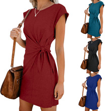 Short Sleeve Loose T Shirt Dress for Ladies 2019 Summer Dress Women Plus Size Solid Casual Cotton Mini Wrap Dresses Female ZOGAA цена
