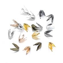 100pcs/lot 13*8mm Gold Silver Retro Filigree Bead Caps Carved Flower Bead End Caps DIY Spaced Apart Jewelry Making Handmande DIY