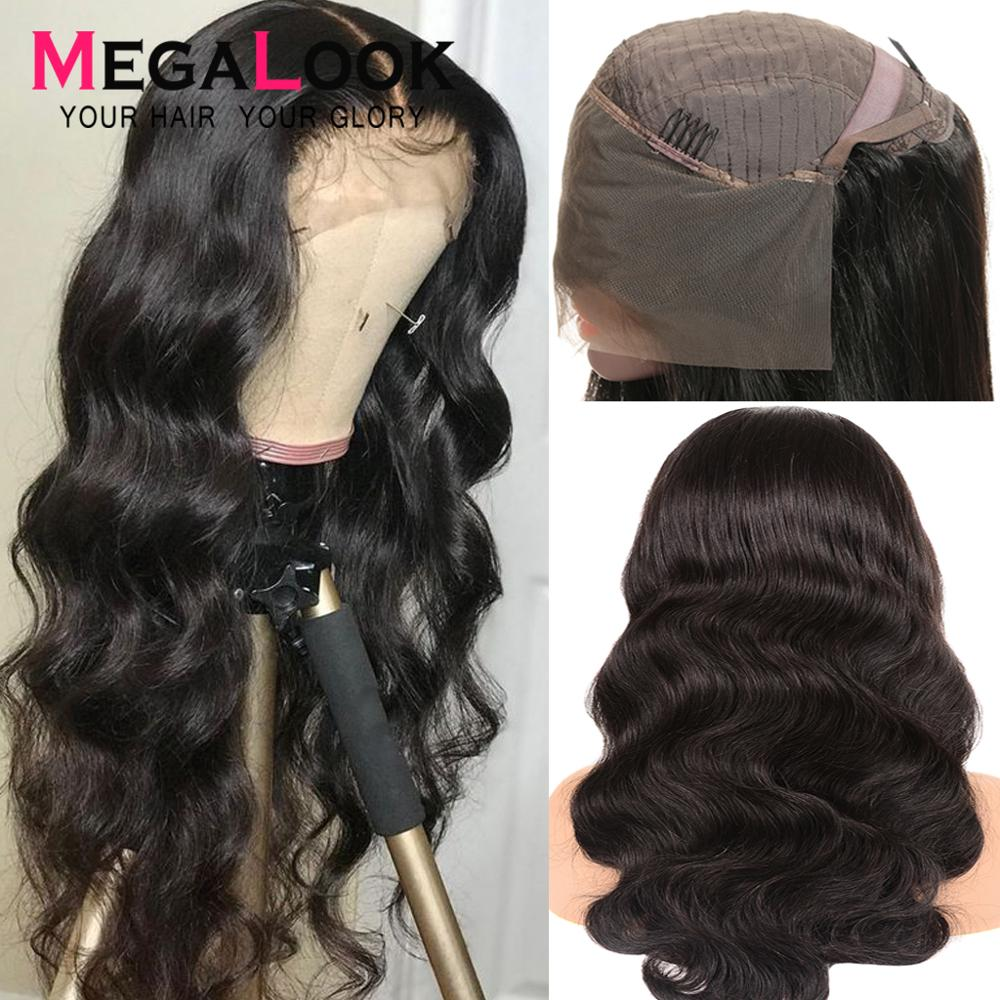 Body Wave Human Hair Wig Bleached Knots Lace Front Human Hair Wigs With Baby Hair 13x4 Megalook Natural Black Malaysian Remy