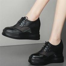 Moda Sneakers donna stringate scarpe tacco alto in vera pelle scarpe donna piattaforma traspirante zeppe stivaletti scarpe Casual