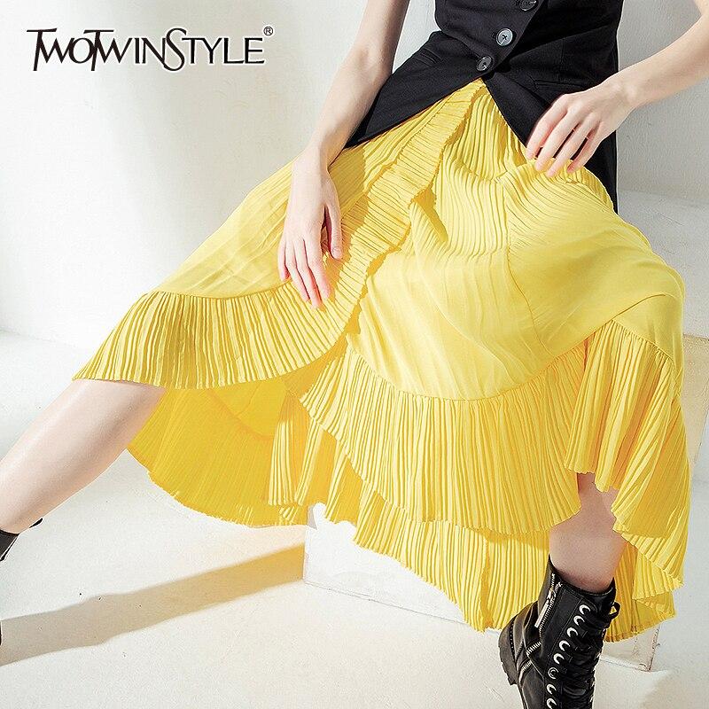 TWOTWINSTYLE Casual Ruffles Mermaid Skirt Women High Waist Irregular Hem Ruched Skirts Female Fashion Clothing 2020 Spring Tide