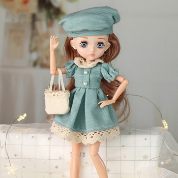 26cm 1/6 Bjd Doll With Clothes Blue 3D Eyes 11 Movable Joints Eyelashes Long Hair Wig Dress Up DIY Toy For Girls Fahsion Gift 1