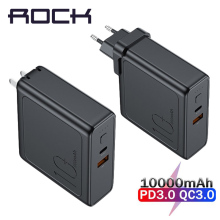 ROCK 10000mah Power Bank With EU USB Plug 3A Type-C and Usb