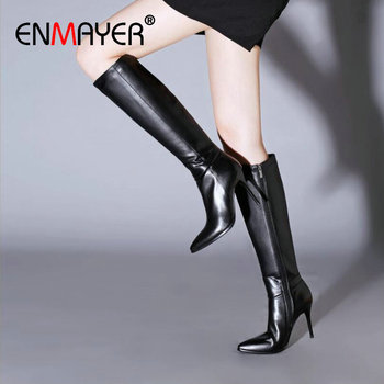 ENMAYER Thin High Heel Boots Sexy PU Sewing Pointed Toe Knee-High 2020 Winter Shoes Women Round Fashion 34-43
