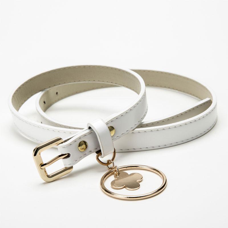 Korean Style Belt Metal Round Pendant PU Leather Belts for Women Waistband Casual Buckle Waist ceinture femme