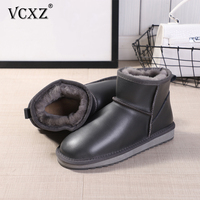 VCXZ 2020 high quality cowhide Leather girl waterproof fashion Boots Wool Fur Lined Winter women Boots All match warm Snow Boots
