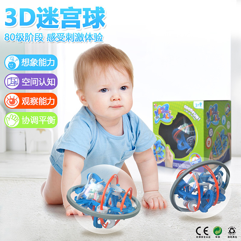 New popular kids educational toys 3D three dimensional labyrinth puzzle maze magic ball maze spherical 80 pass mini puzzle