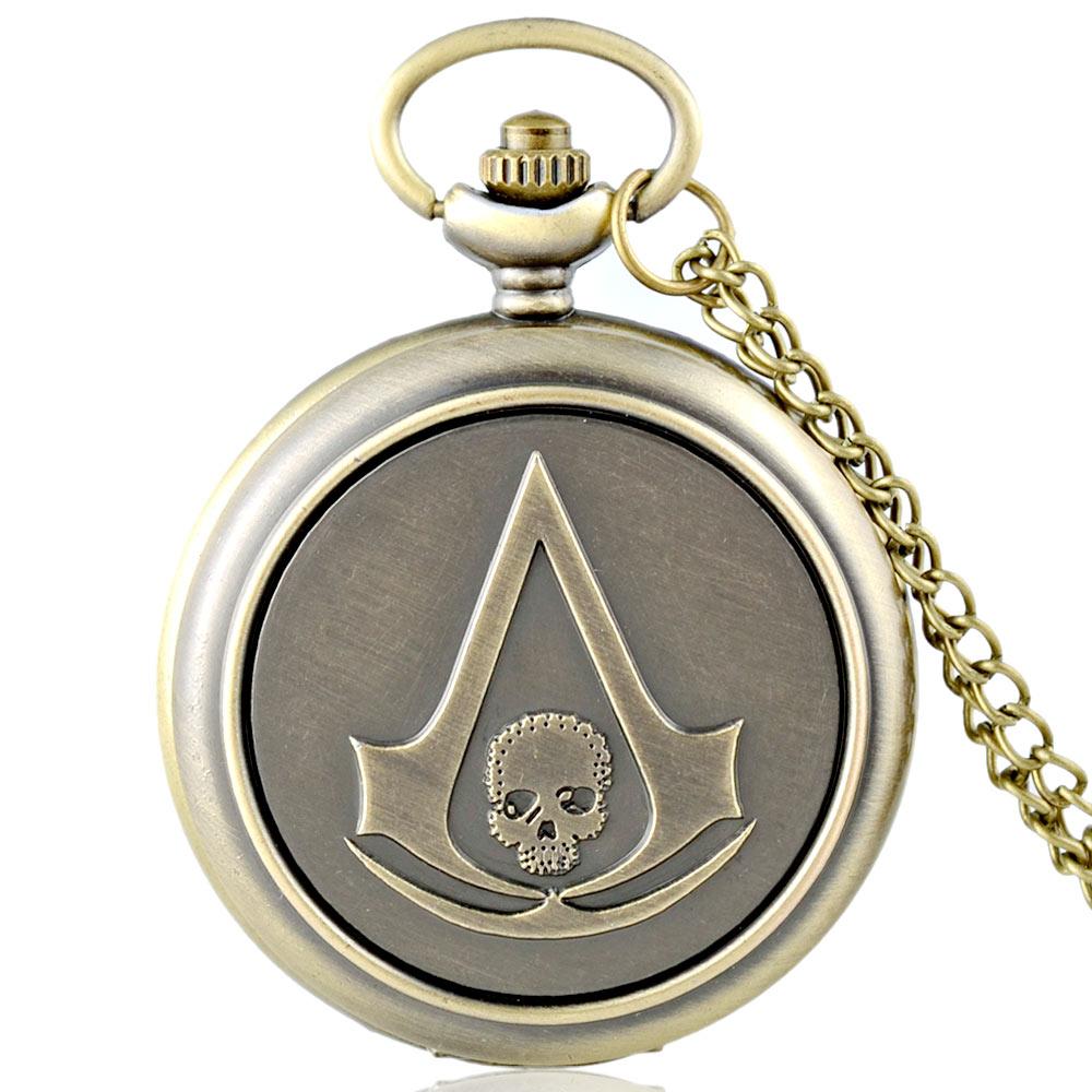 IBEINA New Arrivals Vintage Bronze Skyrim Steampunk Pocket Watch Antique Men Skull Punk Pendant Necklace Watches