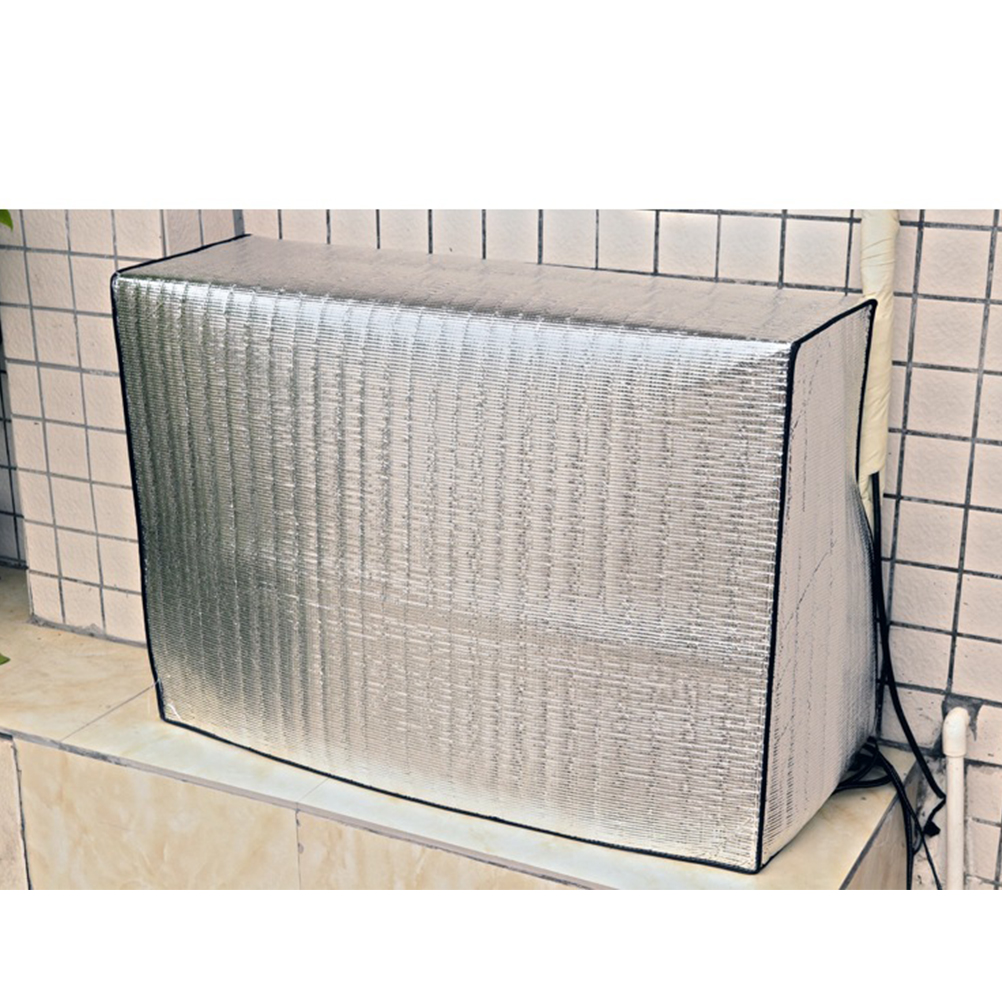 Analytical 1pc Laser Metal Aluminum Film Air Conditioner Cover Outdoor Air Conditioning Sun Shade Protection Covers Sunshade Cover Silver Convenient To Cook
