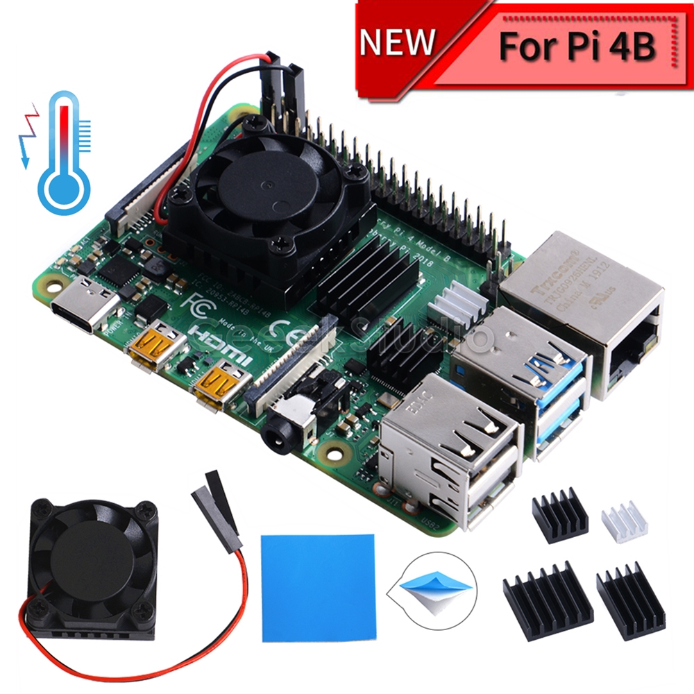 New! In Stock Square Cooling Fan 1/2 Dual Fan With Heatsink Cooler Kit For Raspberry Pi 4B ( 4 Model B )