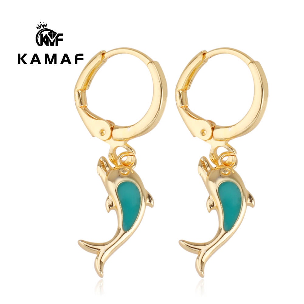 Copper plated gold color White gold dolphin earrings Enamel earrings image