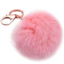 8 см помпон автомобильный брелок Подвеска меховой шар брелок для ключей мех кролика плюшевый меховой ключ Chian POM брелок для женщин Автомобильная сумка брелок игрушка