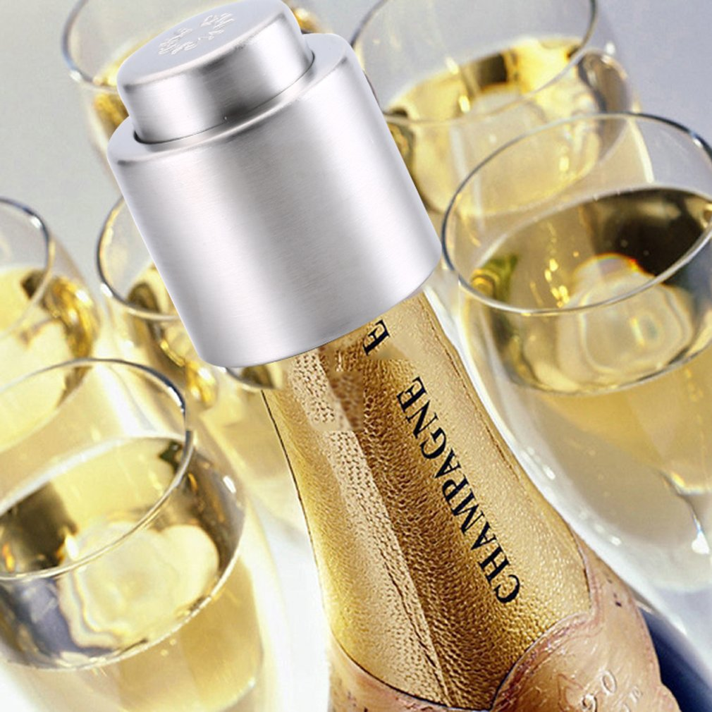 1Pc Stainless Steel Champagne/Red Wine Sealer Wine Bottle Stopper Fresh Vacuum Sealer Bar Tools For Celebration Party|Wine Stoppers| |  - title=