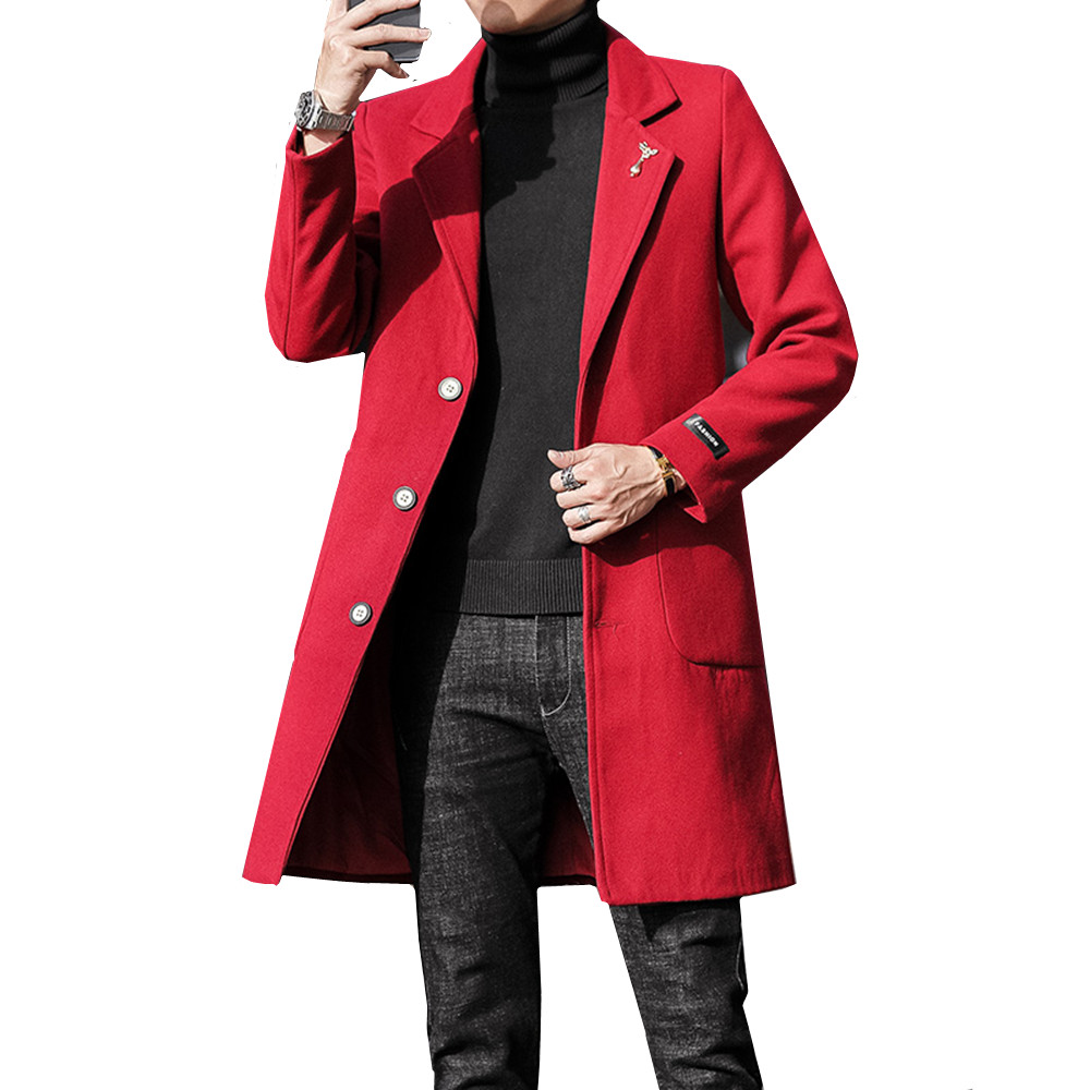 2019 Full Winter For Male Overcoat Medium-Long Jackets & Coats Warm Winter Thick Casual Mens Wool Blend Jackets 4XL 5XL