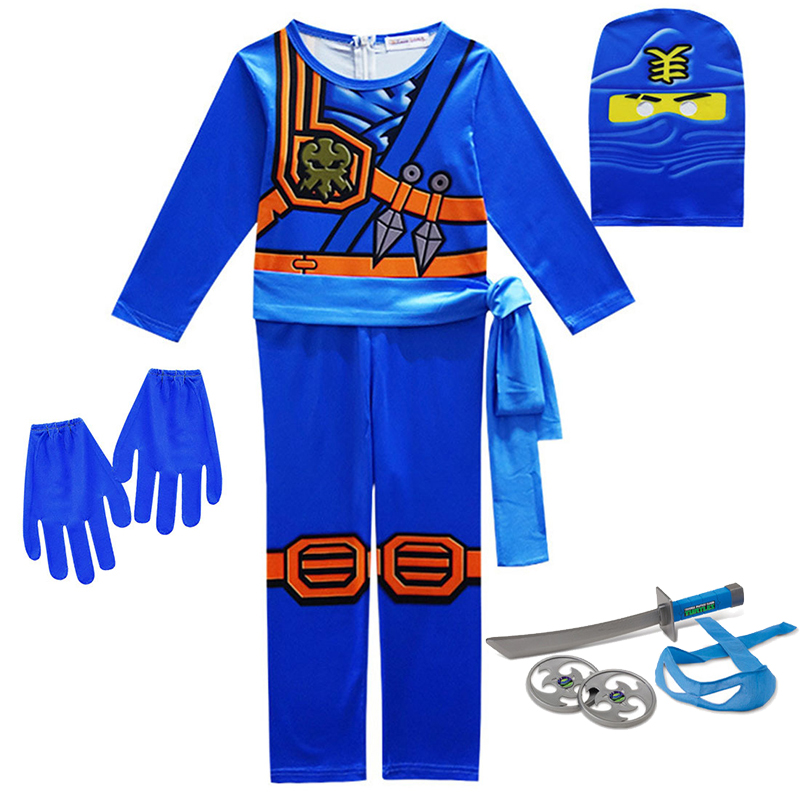 Ninjago Cosplay Costumes Boys and Girls Jumpsuit weapon Set cosplay anime children's fantasy Halloween Christmas Party clothes 3