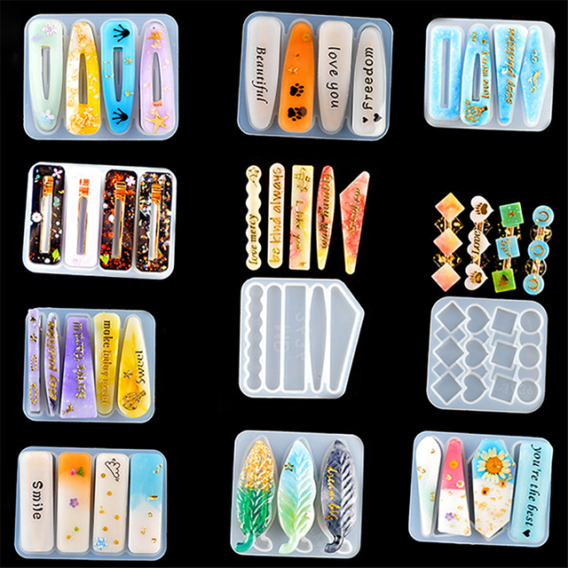 Arts Hair Pin Mold Resin Casting Clip Making Mould Mold Epoxy DIY Craft Jewelry