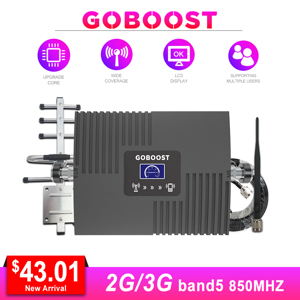 Repeater Cellular Signal Booster 2g 850mhz CDMA GSM 2g 3g LCD Display Mini Amplifier Signal Network 65dB Yagi+Whip Antenna Kit #