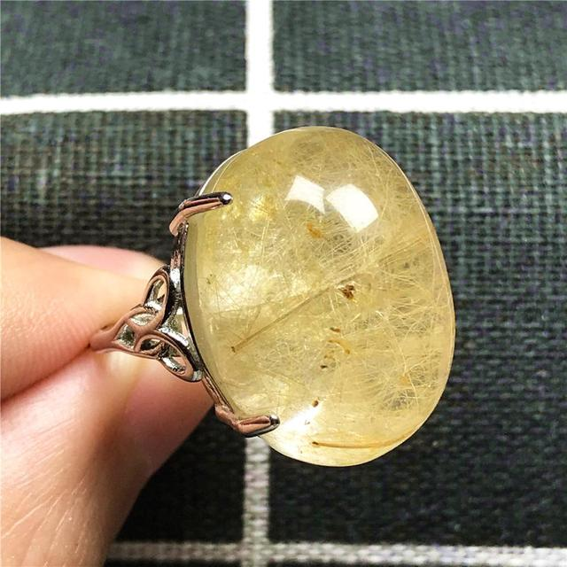 100% Natural Gold Hair Rutilated Quartz Ring For Woman Lady Man Love 23x16mm Beads Silver Crystal Adjustable Ring Jewelry AAAAA