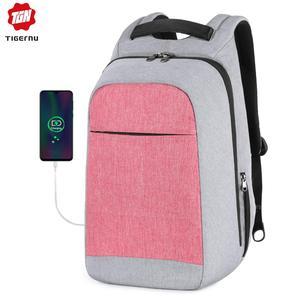 Image 1 - تيجيرنو مكافحة سرقة موضة حقائب الظهر النسائية اليومية كلية حقيبة مدرسية للفتيات المراهقات 15.6 بوصة محمول على ظهره Mochila