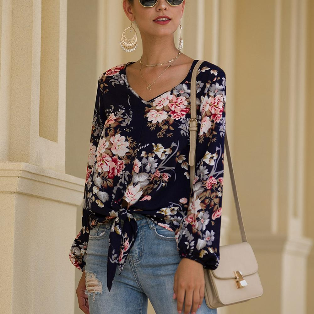 Women's Print V-neck Blouse Loose Casual Long Sleeve BlouseWomen's Summer Fashion Elegant Top Shirt