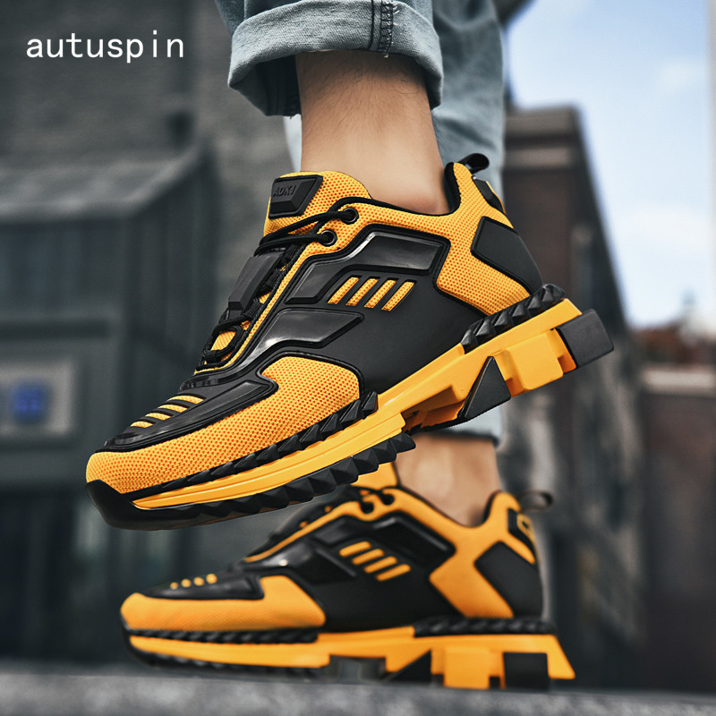 Autuspin Winter Platform Sneakers Men Breathable Air Mesh Knitted Fabric Men's Running Shoes Trainers GYM Fitness Sports Sneaker