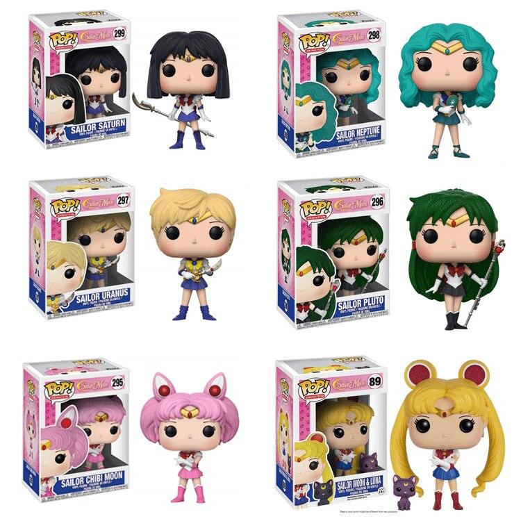 Funko POP Sailor Moon Chibiusa Setsuna Meiou Kaiou Michiru Action Figures PVC Model Toys Keychain For Children Birthday Gift