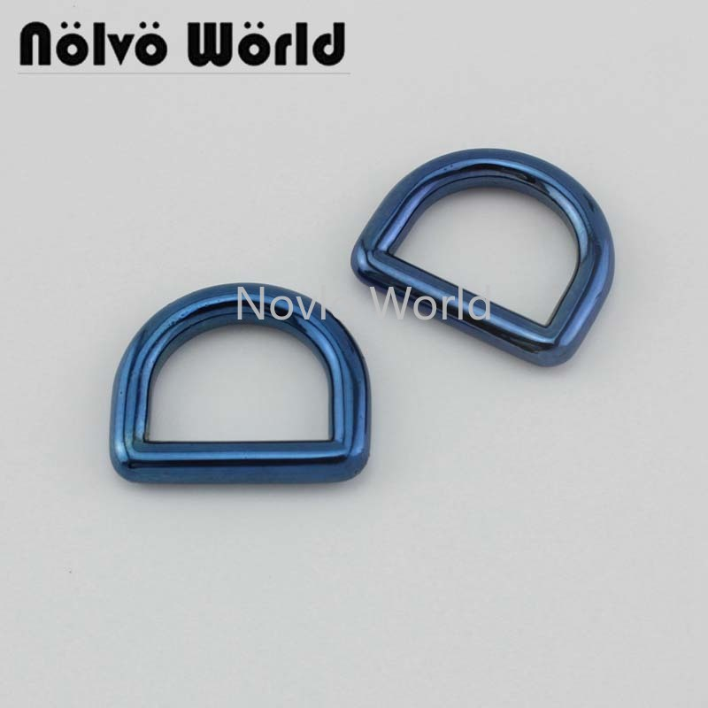 2-20pcs Blue Color 19X15mm Solid Casting D Ring 3/4 Inch Closed Dee Rings For Purse Bag Strap Hardware