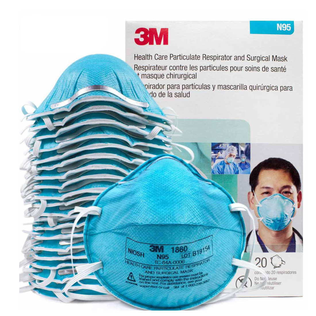 1PC 3M 1860 Grey Safety Protective Dust Masks Anti-PM 2.5 Sanitary Working Respirator Blue